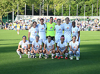 Kansas City, MO - Saturday May 28, 2016: FC Kansas City starters pose for a photo before the game against Orlando Pride during a regular season National Women's Soccer League (NWSL) match at Swope Soccer Village. Kansas City won 2-0.
