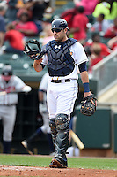 Montgomery Biscuits catcher Curt Casali (13) during a game against the Mississippi Braves on April 22, 2014 at Riverwalk Stadium in Montgomery, Alabama.  Mississippi defeated Montgomery 6-2.  (Mike Janes/Four Seam Images)
