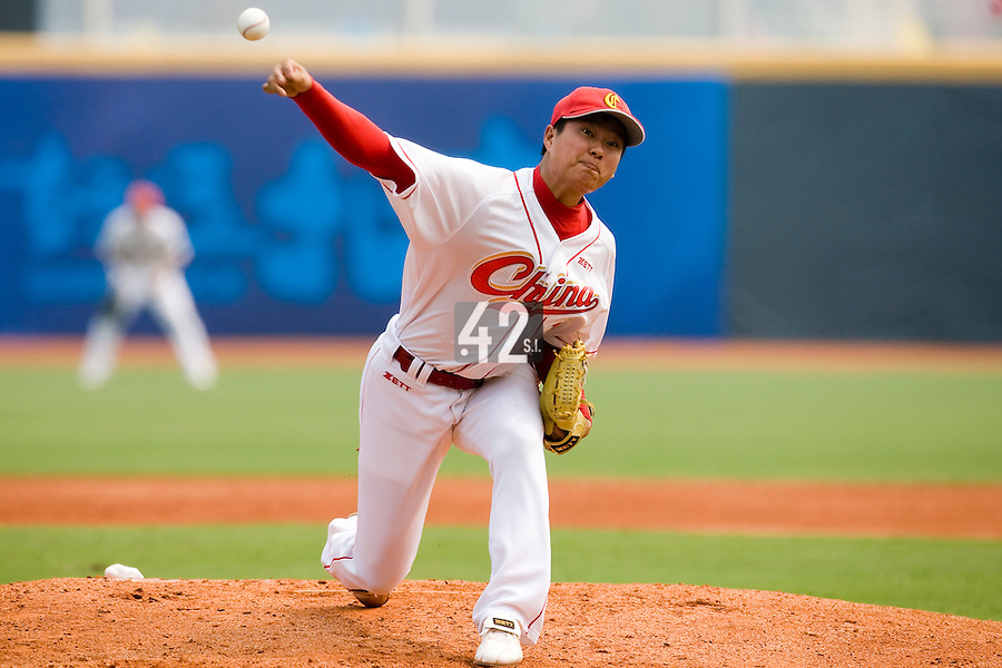 18 August 2007: Pitcher #17 Jiangang Lv pitches during the China 5-1 victory over France in the Good Luck Beijing International baseball tournament (olympic test event) at the Wukesong Baseball Field in Beijing, China.