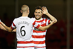 Tony Andreu celebrates with Grant Gillespie after scoring goal no 2 for Hamilton