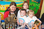 FUN & GAMES: Enjoying the Children in Hospital roadshow in the children's ward at KGH on Wednesday were, l-r: 'Silly Billy & Poochie', Ciaran Doyle (Tralee), Marguerite Molley (Tralee) and nurse, Nora Brosnan.