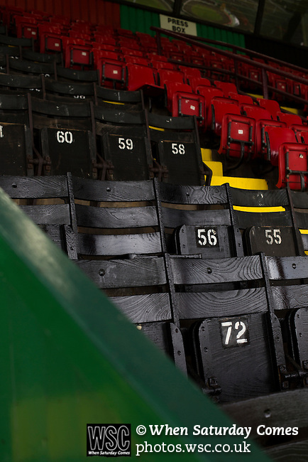 Glentoran 2 Cliftonville 1, 22/10/2016. The Oval, NIFL Premiership. Traditional wooden seats in the main stand at The Oval, Belfast, pictured before Glentoran hosted city-rivals Cliftonville in an NIFL Premiership match. Glentoran, formed in 1892, have been based at The Oval since their formation and are historically one of Northern Ireland's 'big two' football clubs. They had an unprecendentally bad start to the 2016-17 league campaign, but came from behind to win this fixture 2-1, watched by a crowd of 1872. Photo by Colin McPherson.