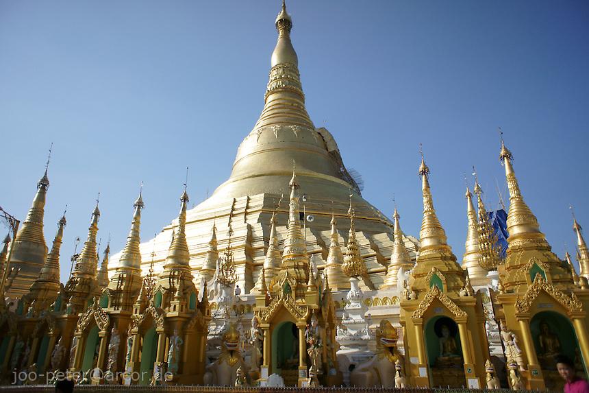 Shwedagon pagoda stupa with shrines below, Yangon, Myanmar, 2011