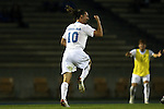 06 December 2014: North Carolina's Andy Craven celebrates his game-tying goal. The University of California Los Angeles Bruins hosted the University of North Carolina Tar Heels at Drake Stadium in Los Angeles, California in a 2014 NCAA Division I Men's Soccer Tournament Quarterfinal round match. The game ended in a 3-3 tie after two overtimes. UCLA advanced to the next round by winning the penalty kick shootout 7-6.