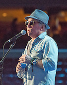 "Singer and songwriter Paul Simon rehearses ""Bridge over Troubled Water"" prior to the start of the 2016 Democratic National Convention held at the Wells Fargo Center in Philadelphia, Pennsylvania on Sunday, July 24, 2016.<br /> Credit: Ron Sachs / CNP<br /> (RESTRICTION: NO New York or New Jersey Newspapers or newspapers within a 75 mile radius of New York City)"
