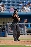 Umpire Matthew Brown calls a strike during a Southern League game between the Montgomery Biscuits and Biloxi Shuckers on May 8, 2019 at MGM Park in Biloxi, Mississippi.  Biloxi defeated Montgomery 4-2.  (Mike Janes/Four Seam Images)