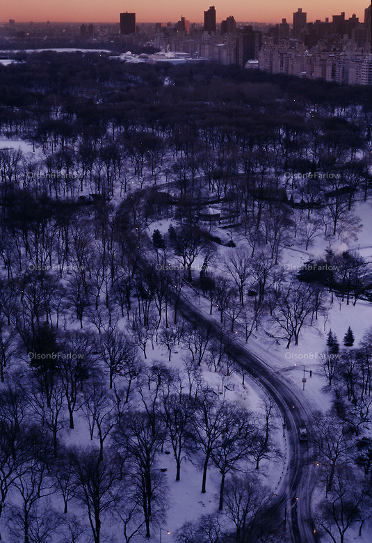 Early morning light on a fresh snow reveal curved roads planned in Frederick Law Olmsted's Central Park.