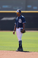 San Diego Padres second baseman Eguy Rosario (97) during an Extended Spring Training game against the Colorado Rockies at Peoria Sports Complex on March 30, 2018 in Peoria, Arizona. (Zachary Lucy/Four Seam Images)