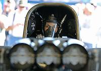 Feb. 14, 2013; Pomona, CA, USA; NHRA funny car driver Alexis DeJoria during qualifying for the Winternationals at Auto Club Raceway at Pomona.. Mandatory Credit: Mark J. Rebilas-