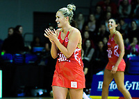 England's Chelsea Pitman celebrates victory in the Quad Series netball match between the New Zealand Silver Ferns and England Roses at Trusts Stadium, Auckland, New Zealand on Wednesday, 30 August 2017. Photo: Dave Lintott / lintottphoto.co.nz
