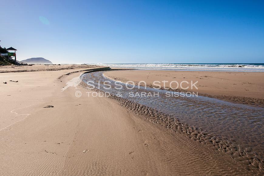 Golden light on sandy beach. Wainui beach. Gisborne NZ