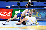 BROOKINGS, SD - JANUARY 18: Seth Gross from South Dakota State University has control of Bryce Meredith from Wyoming during their 141 pound match Thursday night at Frost Arena in Brookings. (Photo by Dave Eggen/Inertia)