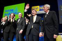 Landesparteitag der nordrhein-westfaelischen FDP am Samstag den 13. Maerz 2010 in Siegen.<br />Im Bild vlnr.: Angela Freimuth, MdL; Hans-Dietrich Genscher, ehem. Aussenminister; der Landesvorsitzende und Spitzenkandidat Prof. Dr. Andreas Pinkwart. Pinkwart ist stellv. Ministerpaesident und Innovationsminister der CDU-FDP-Regierung in NRW; Ingo Wolf, NRW-Innenminister.<br />Copyright: Christian-Ditsch.de<br />[Inhaltsveraendernde Manipulation des Fotos nur nach ausdruecklicher Genehmigung des Fotografen. Vereinbarungen ueber Abtretung von Persoenlichkeitsrechten/Model Release der abgebildeten Person/Personen liegen nicht vor. NO MODEL RELEASE! Don't publish without copyright Christian-Ditsch.de, Veroeffentlichung nur mit Fotografennennung, sowie gegen Honorar, MwSt. und Beleg. Konto: I N G - D i B a, IBAN DE58500105175400192269, BIC INGDDEFFXXX, Kontakt: post@christian-ditsch.de Urhebervermerk wird gemaess Paragraph 13 UHG verlangt.]