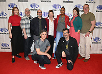 "ANAHEIM, CA - MARCH 31: (L-R, standing) Judy Greer, Executive Producer Casey Willis, H. Jon Benjamin, Jessica Walter, Aisha Tyler, Amber Nash, Executive Producer Matt Thompson, and Chris Parnell and Lucky Yates (kneeling) of FX's ""Archer"" attends WonderCon 2019 at the Anaheim Convention Center on March 31, 2019 in Anaheim, California. (Photo by Frank Micelotta/FX/PictureGroup)"