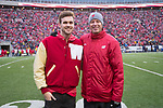 Former Wisconsin Badgers swimmer Matt Hutchins with Swimming and Diving Head Coach Whitney Hite during an NCAA College Big Ten Conference football game against the Michigan Wolverines Saturday, November 18, 2017, in Madison, Wis. The Badgers won 24-10. (Photo by David Stluka)