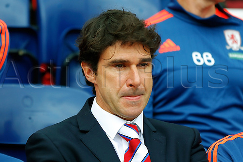 09.08.2015. Preston, England. Skybet Championship. Preston versus Middlesbrough. Middlesbrough Manager and Head Coach Aitor Karanka looks on