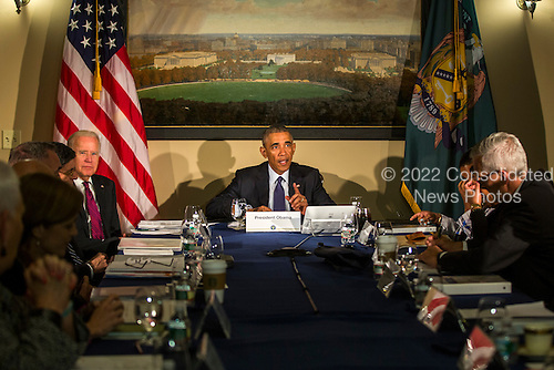 United States President Barack Obama, along with Vice President Joe Biden, meets with his National Security Council, including FBI Director James Comey, Homeland Security Secretary Jeh Johnson and National Counterterrorism Center Director Nick Rasmussen, at the Treasury Department in Washington, DC, USA, 14 June 2016. The White House announced that Obama will visit Orlando on 16 June.<br /> Credit: Jim LoScalzo / Pool via CNP