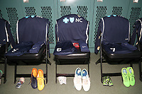 Cary, North Carolina  - Saturday June 03, 2017: Kits of Samantha Mewis, Abby Erceg, and McCall Zerboni in the Courage locker room prior to a regular season National Women's Soccer League (NWSL) match between the North Carolina Courage and the FC Kansas City at Sahlen's Stadium at WakeMed Soccer Park. The Courage won the game 2-0.
