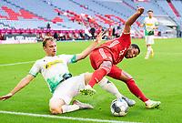 13th June 2020, Allianz Erena, Munich, Germany; Bundesliga football, Bayern Munich versus Borussia Moenchengladbach;  Serge GNABRY, FCB is heavily tackled by Tony JANTSCHKE, MG