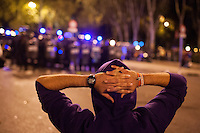 Congress human chain Thousands of protesters clashed violently with riot police in Madrid on Tuesday over the announcement of severe austerity measures.<br /> Madrid,Spain 2012.
