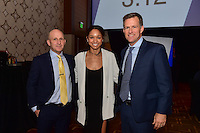 Los Angeles, CA - Thursday January 12, 2017: North Carolina Courage Head Coach Paul Riley, Darian Jenkins, General Manager Curt Johnson during the 2017 NWSL College Draft at JW Marriott Hotel.