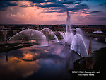 view of Downtown Dayton's fountains.