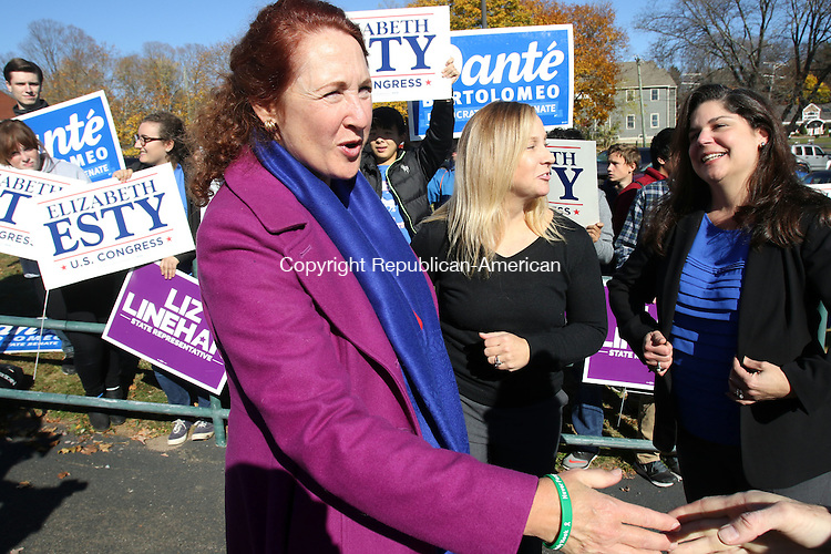 CHESHIRE CT. 08 November 2016-110816SV07-From left, Rep. Elizabeth H. Esty, D-5th District greets supporters with Liz Linehan candidate for state Rep. in the 103rd district and Sen. Dante Bartolomeo, D-Meriden at Cheshire High School in Cheshire Tuesday.<br /> Steven Valenti Republican-American
