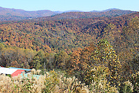 Stock photo - Mountains & trees covered in fall colors as seen from Blue Ridge Parkway North Carolina USA.