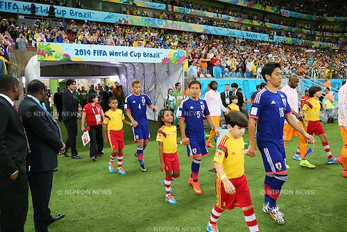(L to R) <br /> Keisuke Honda, <br /> Yuto Nagatomo, <br /> Shinji Kagawa (JPN), <br /> JUNE 14, 2014 - Football /Soccer : <br /> 2014 FIFA World Cup Brazil <br /> Group Match -Group C- <br /> between Cote d'Ivoire 2-1 Japan <br /> at Arena Pernambuco, Recife, Brazil. <br /> (Photo by YUTAKA/AFLO SPORT) [1040]