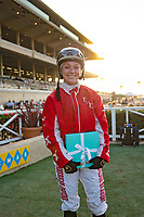 DEL MAR,CA-SEPTEMBER 04:Sasha Risenhoover,the winning jockey of Del Mar Juvenile Fillies Turf at Del Mar Race Track on September 04,2017 in Del Mar,California (Photo by Kaz Ishida/Eclipse Sportswire/Getty Images)