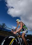 KAILUA-KONA, HI - OCTOBER 13:  Pete Jacobs of Australia bikes during the 2012 IRONMAN World Championships on October 13, 2012 in Kailua-Kona, Hawaii. (Photo by Donald Miralle)
