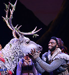 Sven and Jelani Alladin during the Broadway Musical Opening Night Curtain Call for 'Frozen' at the St. James Theatre on March 22, 2018 in New York City.