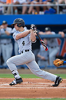 Stuart Fairchild (4) of the Wake Forest Demon Deacons follows through on his swing against the Florida Gators in Game One of the Gainesville Super Regional of the 2017 College World Series at Alfred McKethan Stadium at Perry Field on June 10, 2017 in Gainesville, Florida.  (Brian Westerholt/Four Seam Images)