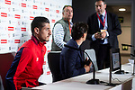 Sevilla Sergio Escudero and coach Vincenzo Montella during press conference the day before King's Cup Finals match between Sevilla FC and FC Barcelona at Wanda Metropolitano in Madrid, Spain. April 20, 2018. (ALTERPHOTOS/Borja B.Hojas)