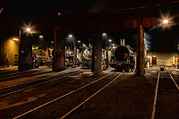 Night photo of the evening maintenace routine at the Durango Silverton Train Yard in Durango Colorado.<br /> <br /> The Durango Silverton Narrow Gauge Raliroad, this a historic authentic steam operated scenic railway. The locomotives are 1923-25 vintage and are maintained in original condition and operate year round between Durango and Silverton Colorado