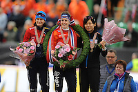 SPEED SKATING: HAMAR: Vikingskipet, 05-03-2017, ISU World Championship Allround, Final Podium Ladies, Martina Sábliková (CZE), Ireen Wüst (NED), Miho Takagi (JPN), photo Martin de Jong