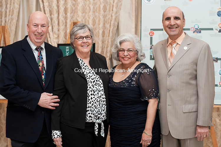 PLANTSVILLE, CT-15 April 2015-041515EC05-  Social Moments. From L to R: Gary and Sandy Post, Linda Noujaim and State Representative Selim Noujaim. Post University held its 125th anniversary celebration with a Hall of Fame induction at the Aqua Turf. Rep. Noujaim, an alumnus, was one of the inductees. Erin Covey Republican-American