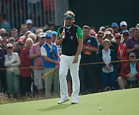 20.07.2014. Hoylake, England. The Open Golf Championship, Final Round. Victor DUBUISSON [FRA]  with a close miss ont he green