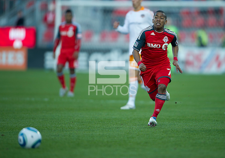 07 May 2011: Toronto FC forward Joao Plata #7 in action during an MLS game between the Houston Dynamo and the Toronto FC at BMO Field in Toronto, Ontario..Toronto FC won 2-1.