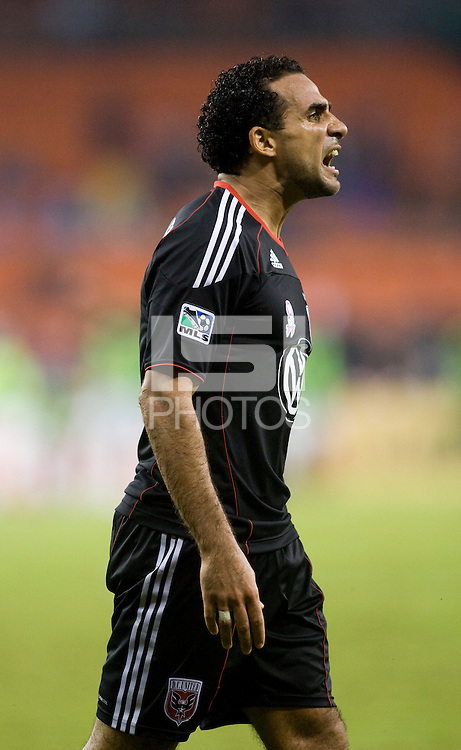 Dwayne De Rosario (7) of D.C. United celebrates his goal during the game at RFK Stadium in Washington, D.C. D.C. United tied the Portland Timbers, 1-1.