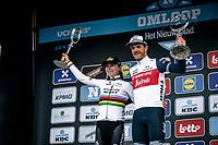 Women's and Men Elite winners sharing the podium:<br /> <br /> Annemiek Van Vleuten (NED/Mitchelton Scott) and Jasper Stuyven (BEL/Trek Segafredo)<br /> <br /> 75th Omloop Het Nieuwsblad 2020 (BEL)<br /> 12th Women's Omloop Het Nieuwsblad 2020 (BEL)<br /> <br /> from Gent to Ninove<br /> <br /> ©kramon