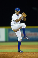 Burlington Royals relief pitcher Christian Flecha (17) in action against the Johnson City Cardinals at Burlington Athletic Park on August 22, 2015 in Burlington, North Carolina.  The Cardinals defeated the Royals 9-3. (Brian Westerholt/Four Seam Images)