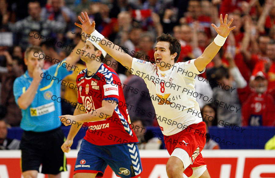 Rasmus Lauge Schmidt celebrate during men`s EHF EURO 2012 handball championship final game between Serbia and Denmark in Belgrade, Serbia, Sunday, January 29, 2011.  (photo: Pedja Milosavljevic / thepedja@gmail.com / +381641260959)