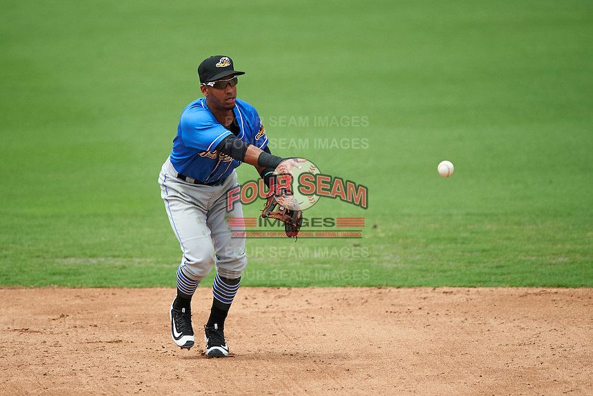 Akron RubberDucks shortstop Ivan Castillo (1) flips the ball to second during the first game of a doubleheader against the Bowie Baysox on June 5, 2016 at Prince George's Stadium in Bowie, Maryland.  Bowie defeated Akron 6-0.  (Mike Janes/Four Seam Images)
