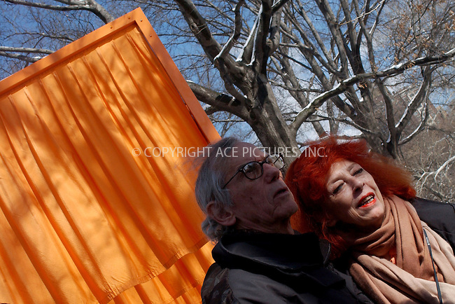 WWW.ACEPIXS.COM . . . . . ....NEW YORK, FEBRUARY 25, 2005....Christo and Jeanne-Claude absorb the beauty of their art installation in snow covered Central Park.....Please byline: KRISTIN CALLAHAN - ACE PICTURES.. . . . . . ..Ace Pictures, Inc:  ..Philip Vaughan (646) 769-0430..e-mail: info@acepixs.com..web: http://www.acepixs.com