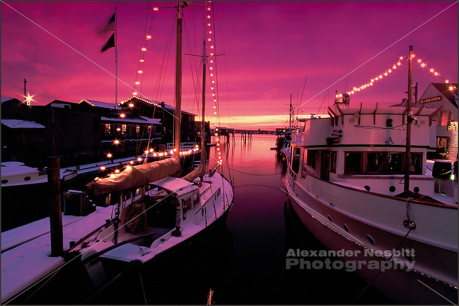 USA, Newport, RI - Snow covered boat's lit with Christmas lights at Bowen's Wharf with a deep pink sunset.