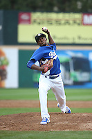 Luis De Paula (25) of the Rancho Cucamonga Quakes pitches against the Lake Elsinore Storm at LoanMart Field on April 10, 2016 in Rancho Cucamonga, California. Lake Elsinore defeated Rancho Cucamonga, 7-6. (Larry Goren/Four Seam Images)