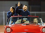 Lawndale, CA 10/07/16 - Last year's homecoming queen and king arrive at the stadium in action during the CIF Bay League game between Santa Monica and Lawndale.