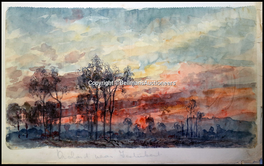 BNPS.co.uk (01202 558833)<br /> Pic: BellmansAuctioneers/BNPS<br /> <br /> Orchard near Festubert.<br /> <br /> A collection of beautiful First War watercolours that offer a fascinating glimpse into one man's life in the trenches has emerged for sale a century later.<br /> <br /> Talented artist Finlay Mackinnon, who exhibited multiple times at the prestigious Royal Academy, answered the call to sign up in 1914 and spent almost all of the First World War fighting in France.<br /> <br /> But in his free time on the front he did what he loved best, capturing life in the trenches and also the beauty of their bleak surroundings in his pictures.<br /> <br /> Bellmans Auctioneers, who are selling the album of artwork, know little about the provenance of the album, which is expected to fetch £4,000 at auction.