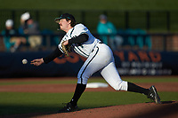 Coastal Carolina Chanticleers relief pitcher Alaska Abney (8) delivers a pitch to the plate against the Illinois Fighting Illini at Springs Brooks Stadium on February 22, 2020 in Conway, South Carolina. The Fighting Illini defeated the Chanticleers 5-2. (Brian Westerholt/Four Seam Images)